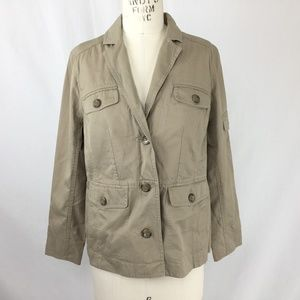 Lands End Utility Blazer Khaki Pockets Safari